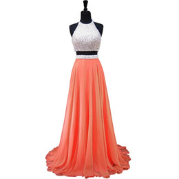 Barato Elegante Branco Backless Vestido De Noite-Elegant White Coral Chiffon Pearls Dresses Prom Evening Gowns Halter Uma linha Backless Barato Beaded Long Two Pieces formal Fashionant Dress