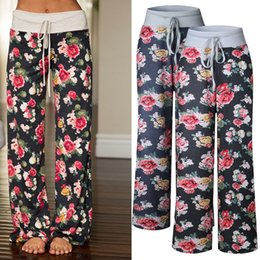 Cotton Palazzo Pants Canada - S-3XL Women Casual Fashion Flower Floral Print Drawstring Wide Leg Palazzo Pants Ladies Loose Pajama Trousers New