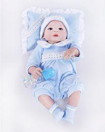Kids Silicone Baby Canada - 22 inch Full Silicone Vinyl Lifelike reborn Baby Doll Washable Reborn Baby Alive Lifelike Cute Vinyl Dolls Kids Toys Gift