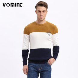 Barato Estilo Das Camisas Da Forma Dos Homens-Venda por atacado - Vomint 2017 New Mens Pullovers Sweaters Autumn Wear Basic Style Youth Preppy Camisas Striped Regular Fashion Knitt Shirt J6VI6A17