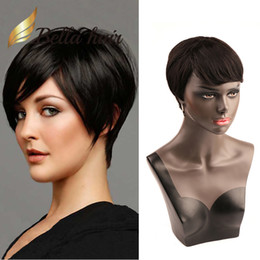 Discount short indian human hair wigs - Popular Hairstyles Short Bob Silky Straight Hair Wigs 100% Unprocessed Human Hair Cheapest Wig 150% Density Machine made