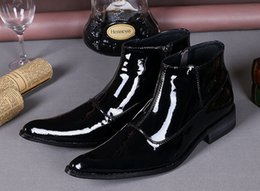 Mens Black Casual Dress Shoes Canada - Genuine Leather Male Black Shoes Casual Business Shoes Patent Leather Oxfords Mens Dress Wedding Flat Shoes New Brand Oxfords