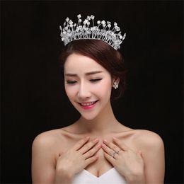 $enCountryForm.capitalKeyWord NZ - Wholesale Beaded Wedding Crown Tiara Bridal Headband Hair Accessories Jewelry Headpiece Princess Queen Headdress Silver Prom Hairband Cheap