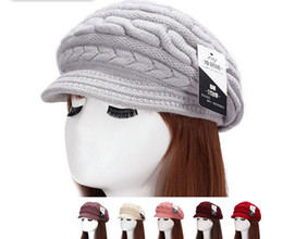Discount crochet knit brimmed hat - Selling! Women Lady Winter Warm Crochet Knitting Wool Hat Stingy Brim Caps Warmer Peaked Beanie Free Shipping