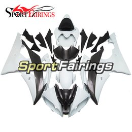 carbon fiber motorcycle fairings NZ - Fairings For Yamaha YZF600 R6 YZF-R6 08 09 10 11 12 13 14 2008 2014 Sportbike ABS Motorcycle Fairing Kit Flat White Carbon Fiber Look Carene