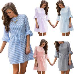 $enCountryForm.capitalKeyWord Australia - 2017 Sexy Dresses Dreaming Of The Women Dress Striped Dress Summer Three Quarter Sleeve Fit and Flare Mini Dress Sundresses ONY171011