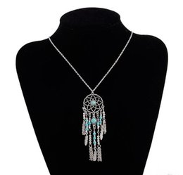Turquoise Feather Pendant NZ - Dreamcatcher Leaf Wing Feather Charms Necklace Turquoise Beads Tassel Pendant Boho Necklace Ethnic Bohemia Jewelry Statement Long Necklace