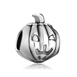 Diy Bracelets Materials UK - 2016 Halloween Pumpkin Face bead Jackolantern charm in Rhodium Plating metal alloy material European Fits Pandora DIY Bracelet