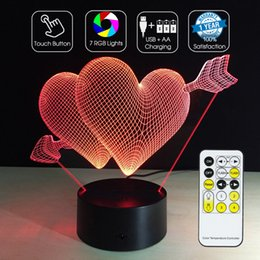 Night Lamp Star Love Canada - 2016 Love Arrow Night Lamp 3D Optical Lamp RGB Lights Dimmable DC 5V AA Battery IR Remote Control Retail Box