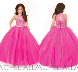Wholesale rachel green online – oversize 2016 Rachel Allan Beautiful Fuchsia Ball Gown Girls Pageant Dresses for Teens Beading Crystal Girls Formal Party Dress Gowns