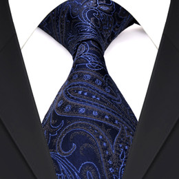 China F21 Wholesale Paisley Navy Blue Multicolor Mens Ties Neckties 100% Silk Jacquard Woven Suit Gift For Men suppliers