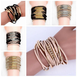 $enCountryForm.capitalKeyWord Canada - Wholesale Low Price 4pcs lot Fashion Design Leather Rhinestone Crystal Chain Alloy metal Jewelry Braid multilaye Magnet Button Bracelet
