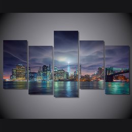 $enCountryForm.capitalKeyWord Canada - 5 Panel HD Printed usa new york city night lights Painting on canvas room decoration print poster picture canvas reproduction classic oil p