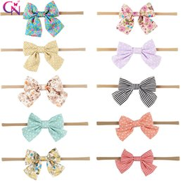 Chinese  Boutique accessories Baby nylon Headbands Hair accessories Polka dots Stripes Print Elastic head bands Girl Bow Hotsale 2017 wholesale manufacturers