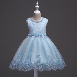 $enCountryForm.capitalKeyWord UK - Fast Shipping Pink Blue White Flower Girl Dress A Line Lace Peals Girls Pageant Dresses Kids Communion Dresses Baby Toddler Pageant Dresses