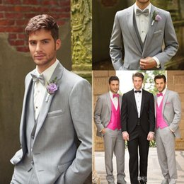 Men Suits Guns Canada - 2016 New Custom Groom Tuxedos With Gun Collar High Quality Handsome Gray Best Man Wedding Groomsman Suit (Jacket+Pants+Tie) Free Shipping