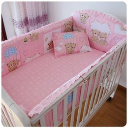 Cute Baby Bedding Sets Canada - Promotion! 6PCS baby bed bumpers crib bumper, cute pattern,100% cotton baby bedding sets (bumpers+sheet+pillow cover)