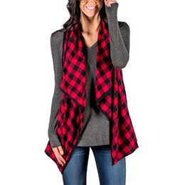 China Wholesale- 2017 Fashion New Women Plaid Checks Jacket Autumn Style Lapel Sleeveless Coat Female Casual Tops Cardigan Coat cheap sleeveless cardigan women suppliers