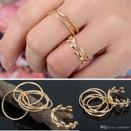 above knuckle ring gold Canada - 6PCS Set Rings Urban Gold Plated Crystal Leaf Shaped Plain Above Knuckle Band Midi Finger Ring Gift C00873 FASH