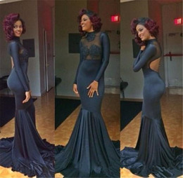 unique girls party dresses NZ - Unique Black Girls Long Sleeves Evening Dresses 2019 Sexy Backless Prom Gowns See Through Mermaid Formal Evening Party Dresses Custom Made