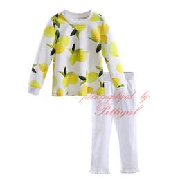 $enCountryForm.capitalKeyWord Canada - Petigirl 2016 Autumn Lemon Pattern Girls Clothing Sets Fresh Fruit Print Tops and White Long Pants Kids Clothes Suits GT81204-356F