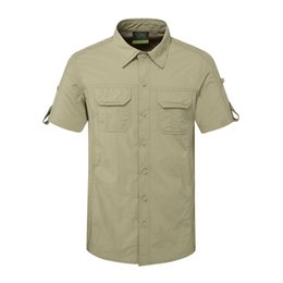 Quick Dry Shirts For Men Australia - Wholesale-2016 New Men's Quick Dry Outdoor Breathable SHirts For sports Hiking Camping Fishing Short Sleeve XXXL Men Top Clothes RM140