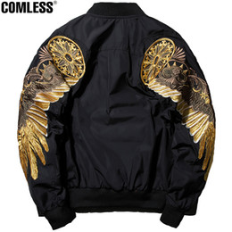 Wholesale- 2017 New Spring Angel Wing Embroidery Bomber Jacket Men Streetwear Hip Hop Coats  Clothing Mens Jackets M-XXXL