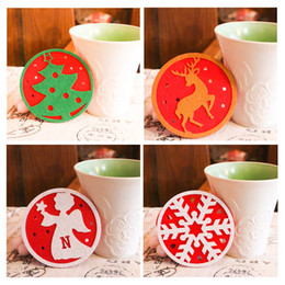 Christmas Tables NZ - 2017 Christmas Cup Pad snowman deer Xmas Table Coaster Cup Drinks Holder Mat Dining Room Decor Xmas navidad