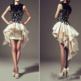 Discount little girl party skirts Homecoming Dresses 2018!!!High Low Black And Ivory Ruffles Skirt Formal Short Back Long Girls Party Formal Cocktail Gown