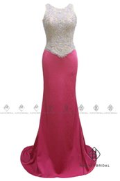 Débardeurs Du Soir Pas Cher-HarveyBridal Hot Pink Sexy Backless Robes de soirée formelle 2017 Luxury Hand Beading Crystal Tank Top Mermaid Prom Gowns Long Real Picture