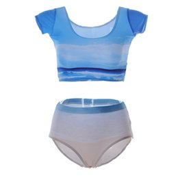 Costume Blanc Serré Pas Cher-Collants de maillots de bain push-up Femmes Vêtements de plage Vêtements de bain à manches élastiques Ensemble de bain à deux pièces 3D Print Ciel bleu et nuages ​​blancs Jambières LNHst
