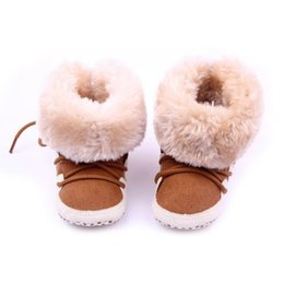Bottillons Neufs En Gros Pas Cher-Vente en gros- Snow Newborn Baby Boys Girls First Walkers Chaussures Soft Crib Toddler Infantil Winter Warm Fleece Booties