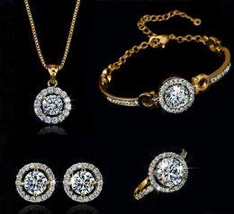 Collier de bijoux en cristal autrichien plaqué de cristal autrichien de luxe de mode 18K pour les femmes faites avec Swarovski Elements Wedding Set en Solde
