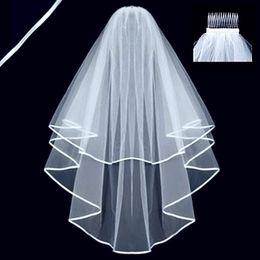 ca2c36f3dd Dos capas de tul velos de novia cortos 2019 Venta caliente Boda nupcial  barata Accesorio para vestidos de boda Boda neta barata En stock