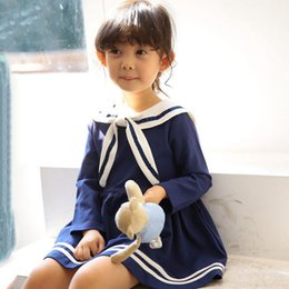 preppy clothing Canada - Girls Navy Wind Dresses 2016 Autumn Children Long Sleeve Preppy Look Kids Clothing Child Korean Style Dress High Quality Girl's Dresses 946