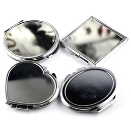 oval shaped glasses frames NZ - Brand new Metal makeup mirror gift gift round square heart shaped oval mini folding mirror HM020 mix order as your needs