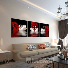 $enCountryForm.capitalKeyWord Canada - 3 Pcs Large HD Red Rose And White Swan Canvas Print Painting for Living Room Wall Art Picture Gift Without Frame free shipping