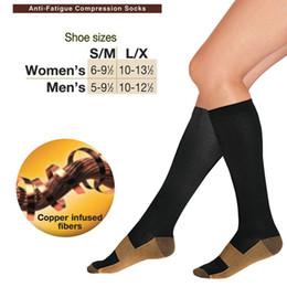 S-XL Top Qualité Chaude Anti Fatigue Cuivre Compression Chaussettes Corps Shaper Chaussettes de Sport Unisexe Minceur bas 200 paires OPP sac Livraison gratuite