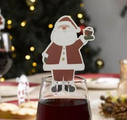Indoor glasses online shopping - Hot Table Place Cards Christmas Santa Hat Wine Glass Decoration