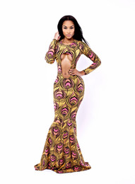 Barato Vestido De Baile Em Penas Com Penas-Mulheres Sexy Club Prom Dresses Peacock Feather Print Oco Exposto Breast Evening Trumpet Mermaid One-piece Long Sleeve Fishtail Maxi Dress