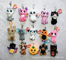 Ty plush Toys online shopping - TY beanie boos Plush Toys keychain simulation animal TY Stuffed Animals Pendant Keychain super soft inch cm children gifts E919