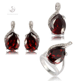Copper Earrings Australia - heart set (ring earring pendant) Red Cubic Zirconia Best Sellers Copper Rhodium Plated MN840set sz#6 7 8 9 Explosion models The new product