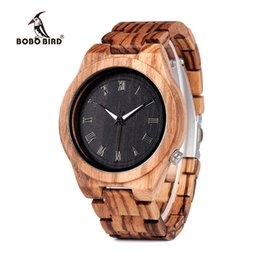 Bird Gift Tags NZ - BOBO BIRD new high-end men's watches Zebra wooden watches all wood fashion quartz watches men's gifts accept OEM custom Relogio