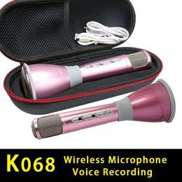 $enCountryForm.capitalKeyWord Canada - Newest K068 Wireless bluetooth Microphone microfone with Mic Speaker Condenser Mini Karaoke Player KTV Singing Record for samsung Iphone
