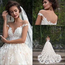 $enCountryForm.capitalKeyWord Canada - Luxury Full Lace A Line Wedding Dresses Hot 2016 Sheer V Neck Cap Sleeves Bridal Gowns Sweep Train Back Covered Buttons Wedding Dresses