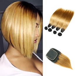 Dark blonDe hair Dye online shopping - Malaysian Straight Virgin Hair T1B Dark Root Honey Blonde Extensions Ombre Human Hair Weave Bundles with Lace Closure Free Middle Part