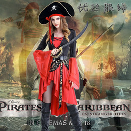 Barato Vestidos Do Caribe-Piratas do Caribe Cosplay Vestuário Halloween Queen Cosplay Costumes Luxurious Stage Performance Dress Party set