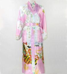 $enCountryForm.capitalKeyWord NZ - Wholesale-New Fashion Pink Chinese Women Silk Robe Sexy Kimono Bath Gown Long Sleepwear Mujer Pijama Plus Size S M L XL XXL XXXL SR013