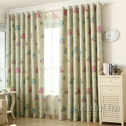 Kitchen Treatments NZ - Eco-friendly curtains for Kids Room blackout curtains + tulle Owl bird printed curtain cartoon window treatment Blue