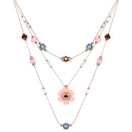 $enCountryForm.capitalKeyWord Australia - Colorful Gemstone Beads Flower Chain Necklace Statement Multi-Layer Necklace Fashion Sweater Accessories Crystal Jewelry Gifts for Women
